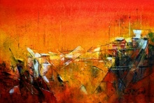 Dnyaneshwar Dhavale | Acrylic Painting title Red IX on Acrylic on canvas