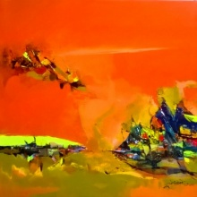 contemporary Acrylic Art Painting title Sunrise by artist Dnyaneshwar Dhavale