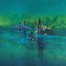 Landscape Acrylic Art Painting title Temple View by artist Dnyaneshwar Dhavale