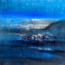 Dnyaneshwar Dhavale | Acrylic Painting title Untitled Blue 17 on canvas | Artist Dnyaneshwar Dhavale Gallery | ArtZolo.com