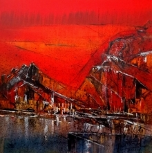 Dnyaneshwar Dhavale | Acrylic Painting title Untitled Red 13 on Canvas | Artist Dnyaneshwar Dhavale Gallery | ArtZolo.com