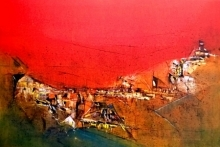 Dnyaneshwar Dhavale | Acrylic Painting title Untitled Red 14 on Canvas | Artist Dnyaneshwar Dhavale Gallery | ArtZolo.com