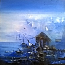Dnyaneshwar Dhavale | Acrylic Painting title Winter on Canvas | Artist Dnyaneshwar Dhavale Gallery | ArtZolo.com