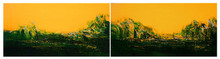 Abstract Acrylic Art Painting title Yellow night by artist Dnyaneshwar Dhavale