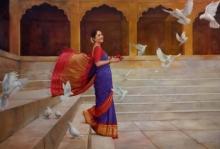 Figurative Oil Art Painting title 'Umang' by artist Ramesh Nanware