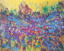 Kaukab Ahmad | Acrylic Painting title Flowers of Heaven VII on Canvas Board | Artist Kaukab Ahmad Gallery | ArtZolo.com