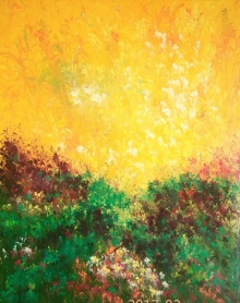 Kaukab Ahmad | Acrylic Painting title Morning Raga on Canvas Board | Artist Kaukab Ahmad Gallery | ArtZolo.com