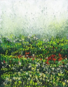 Impressionist Acrylic Art Painting title 'Morning Field' by artist Kaukab Ahmad