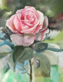 Kaukab Ahmad | Watercolor Painting title Rose on Paper | Artist Kaukab Ahmad Gallery | ArtZolo.com