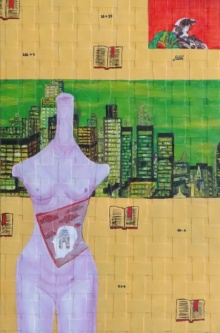 contemporary Acrylic-oil Art Painting title 'City Of Silk' by artist Riddhima Sharraf