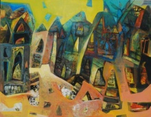 Tapas Ghosal | Acrylic Painting title Varanasi 2 on canvas | Artist Tapas Ghosal Gallery | ArtZolo.com