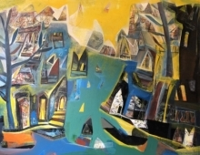Tapas Ghosal | Acrylic Painting title Varanasi 4 on Canvas | Artist Tapas Ghosal Gallery | ArtZolo.com