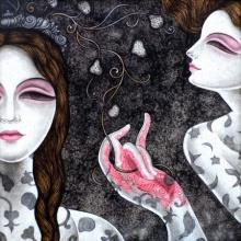 Figurative Acrylic Art Painting title 'Abhisarika 34' by artist Vishal Sabley