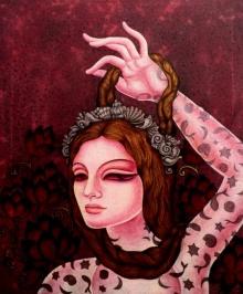 Figurative Acrylic Art Painting title 'Abhisarika 6' by artist Vishal Sabley