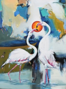 Animals Acrylic Art Painting title 'Flamingo 2' by artist Vishwajeet Naik