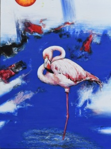 Animals Acrylic Art Painting title 'Flamingo 5' by artist Vishwajeet Naik