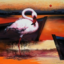 Animals Acrylic Art Painting title 'Flamingo 7' by artist Vishwajeet Naik