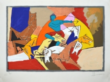 M. F. Husain Paintings | Serigraphs Painting - Arjun by artist M. F. Husain | ArtZolo.com
