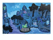 Cityscape Serigraphs Art Painting title 'Banaras In Moonlight' by artist Manu Parekh