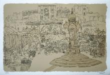 Cityscape Serigraphs Art Painting title Bhadra Fort by artist Vrindavan Solanki