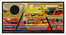Abstract Serigraphs Art Painting title Bharat by artist S. H. Raza