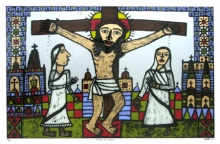 Religious Reverse-serigraph Art Painting title 'Christ On A Cross' by artist Madhvi Parekh