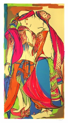 Figurative Serigraphs Art Painting title 'Couple' by artist Vrindavan Solanki