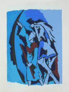 Figurative Serigraphs Art Painting title 'Dada Abdul' by artist M. F. Husain