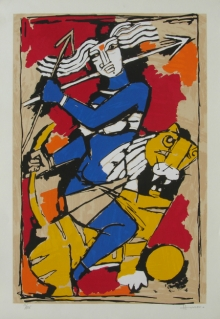 Religious Serigraphs Art Painting title 'Durga' by artist M. F. Husain