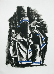 Figurative Serigraphs Art Painting title 'Eternal Mother 2' by artist M. F. Husain