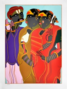 Figurative Serigraphs Art Painting title 'Flute Player' by artist Thota Vaikuntam