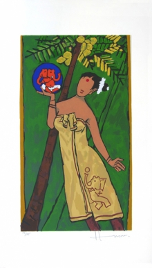 Figurative Serigraphs Art Painting title 'Folklore Kerala' by artist M. F. Husain