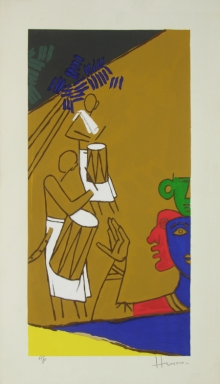 Figurative Serigraphs Art Painting title Folklore Kerala 10 by artist M. F. Husain