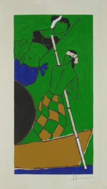 Figurative Serigraphs Art Painting title 'Folklore Kerala 5' by artist M. F. Husain