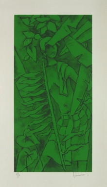 Figurative Serigraphs Art Painting title 'Folklore Kerala 7' by artist M. F. Husain