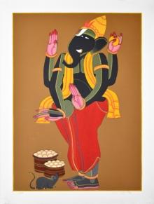 Religious Serigraphs Art Painting title Ganesh by artist Thota Vaikuntam