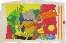 Religious Serigraphs Art Painting title Ganesh by artist M. F. Husain