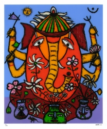 Religious Reverse-serigraph Art Painting title 'Ganesh 1' by artist Madhvi Parekh