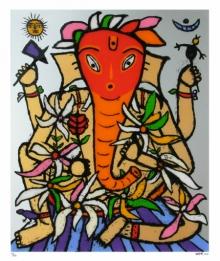 Religious Reverse-serigraph Art Painting title 'Ganesh 2' by artist Madhvi Parekh