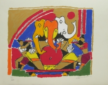 Religious Serigraphs Art Painting title 'Ganesh' by artist M. F. Husain