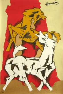 Animals Serigraphs Art Painting title 'Horse 2' by artist M. F. Husain