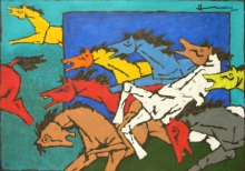 Animals Serigraphs Art Painting title Horse 3 by artist M. F. Husain
