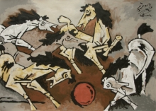Animals Serigraphs Art Painting title Horse 4 by artist M. F. Husain