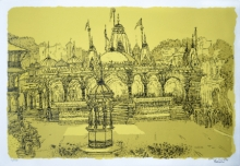Religious Serigraphs Art Painting title 'Kalupur Temple' by artist Vrindavan Solanki
