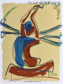 Religious Serigraphs Art Painting title Kamaraye by artist Jatin Das