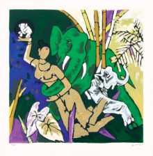 Figurative Serigraphs Art Painting title Kerala 3 by artist M. F. Husain