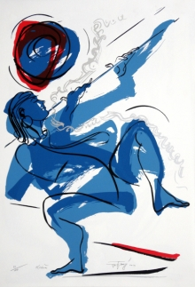 Religious Serigraphs Art Painting title Krishna by artist Jatin Das