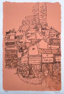 Cityscape Serigraphs Art Painting title Manek Chowk by artist Vrindavan Solanki