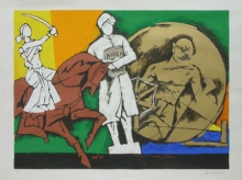 Figurative Serigraphs Art Painting title 'Might Mind Peace 1' by artist M. F. Husain