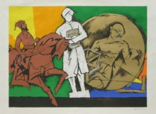 Figurative Serigraphs Art Painting title 'Might Mind Peace 2' by artist M. F. Husain